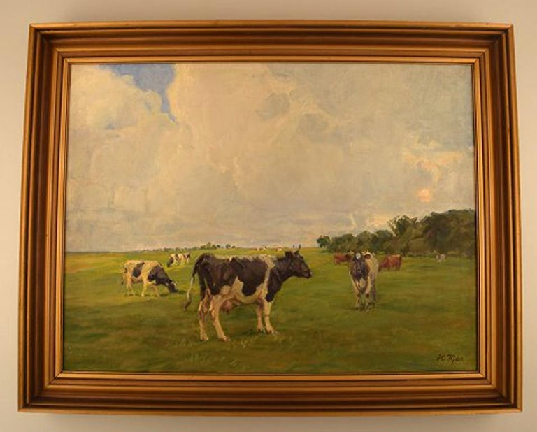 Harald Kjær (b. 1876, d. 1948). Danish artist. Field landscape with grazing cows. Oil on canvas.