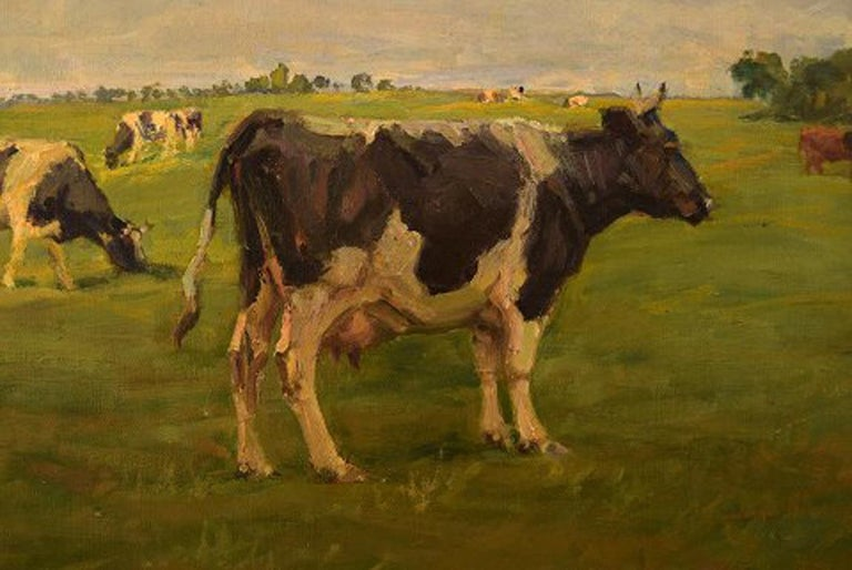 Harald Kjær, Danish Artist. Field Landscape with Grazing Cows In Good Condition For Sale In Copenhagen, Denmark