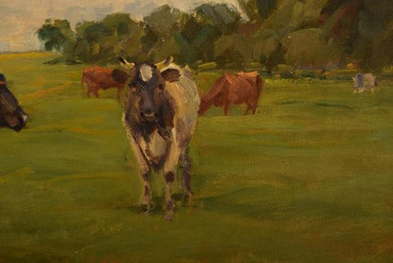 Mid-20th Century Harald Kjær, Danish Artist. Field Landscape with Grazing Cows For Sale