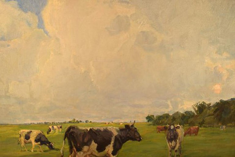 Harald Kjær, Danish Artist. Field Landscape with Grazing Cows For Sale 1