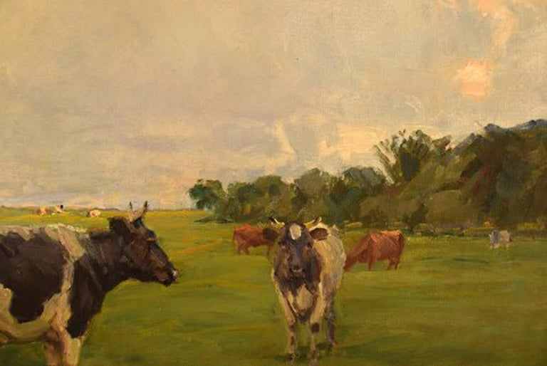 Harald Kjær, Danish Artist. Field Landscape with Grazing Cows For Sale 2