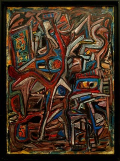 """""""Untitled abstract with Blue, Red, White and other colors""""  43x33"""""""
