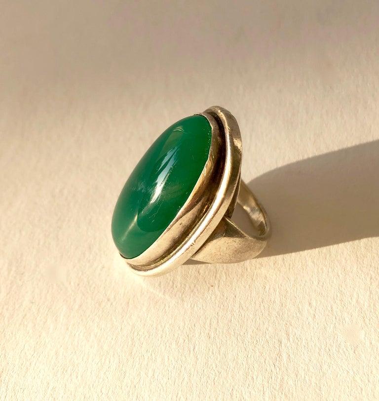 Modernist Harald Nielsen Georg Jensen Sterling Silver Chrysoprase 46E Danish Modern Ring For Sale