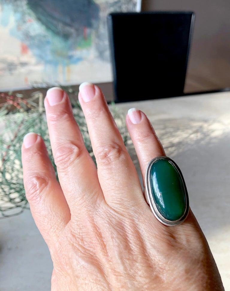 Women's Harald Nielsen Georg Jensen Sterling Silver Chrysoprase 46E Danish Modern Ring For Sale