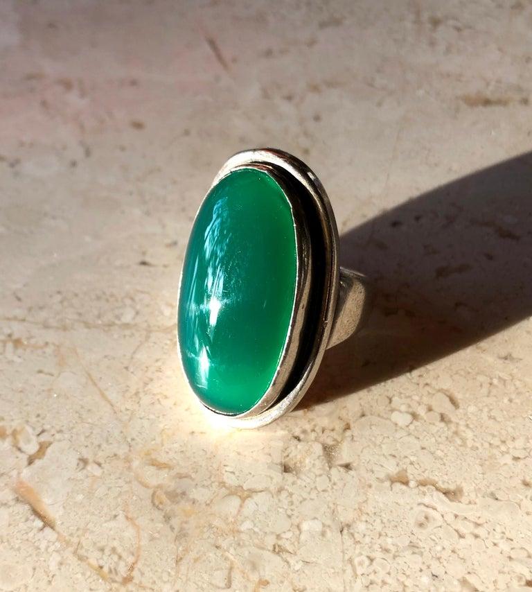 Harald Nielsen Georg Jensen Sterling Silver Chrysoprase 46E Danish Modern Ring For Sale 2