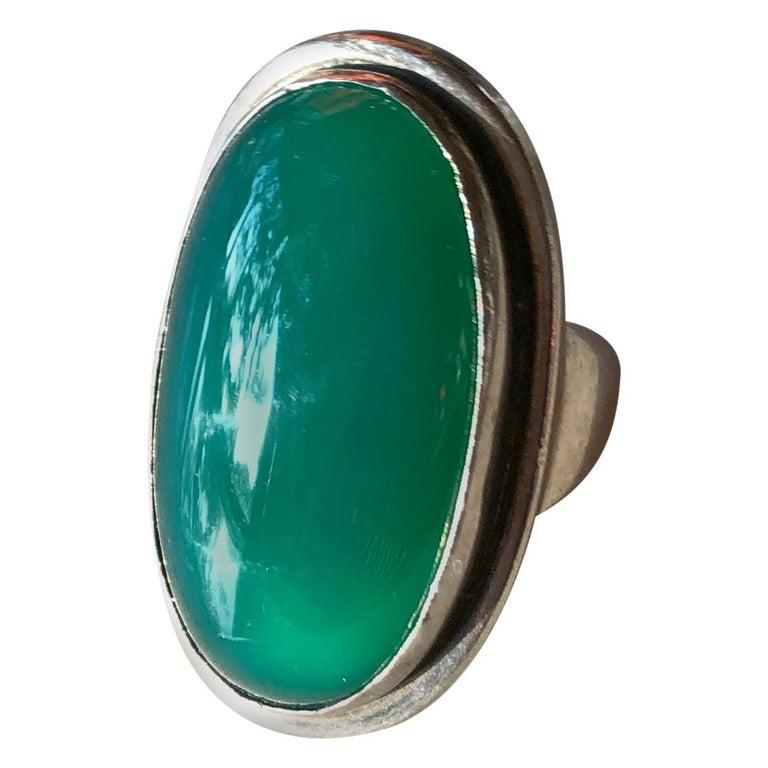 Harald Nielsen Georg Jensen Sterling Silver Chrysoprase 46E Danish Modern Ring For Sale