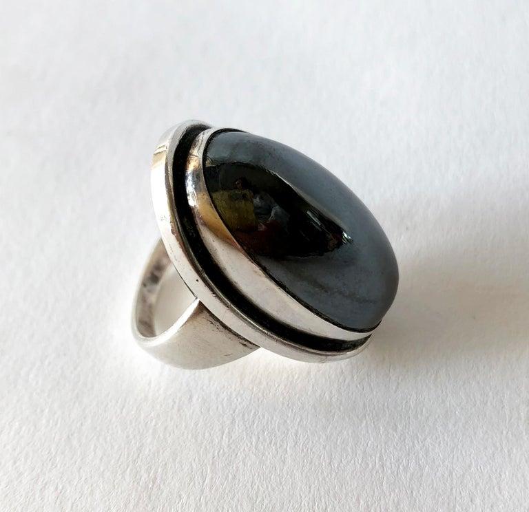 Modernist Harald Nielsen Georg Jensen Sterling Silver Hematite 46E Danish Modern Ring For Sale