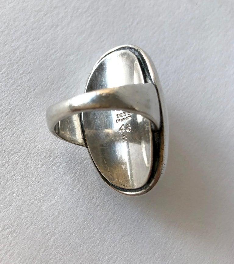 Women's Harald Nielsen Georg Jensen Sterling Silver Hematite 46E Danish Modern Ring For Sale