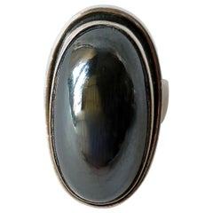Harald Nielsen Georg Jensen Sterling Silver Hematite 46E Danish Modern Ring