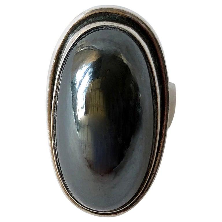 Harald Nielsen Georg Jensen Sterling Silver Hematite 46E Danish Modern Ring For Sale