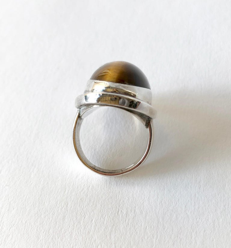 Harald Nielsen Georg Jensen Sterling Silver Tiger's Eye 46E Danish Modern Ring In Good Condition For Sale In Los Angeles, CA