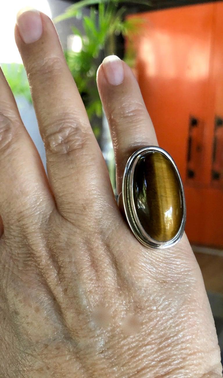 Harald Nielsen Georg Jensen Sterling Silver Tiger's Eye 46E Danish Modern Ring For Sale 1