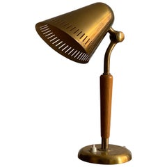 Harald Notini, Table Lamp Brass, Stained Elm, Böhlmarks, Sweden, 1940s