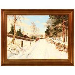 Harald Pryn a Winter Landscape, Signed Harald Pryn, Skovbrynet.