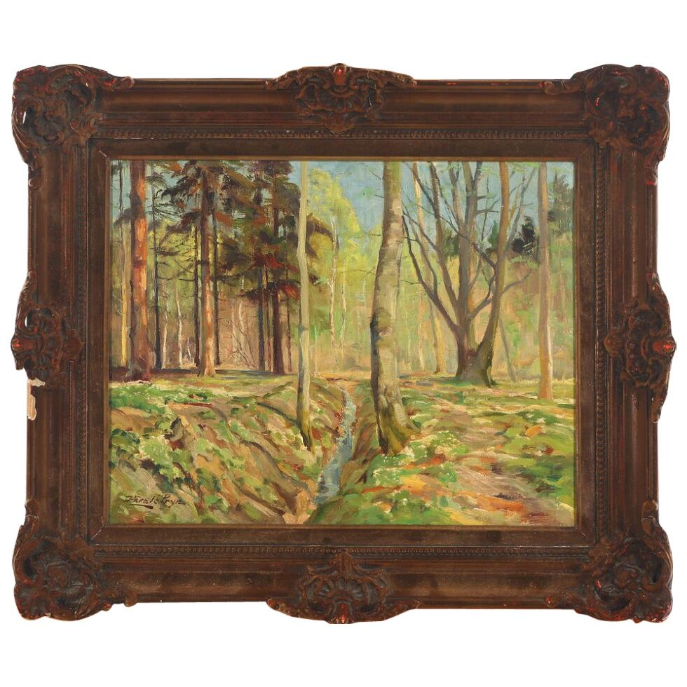 Harald Pryn Spring Day in the Forest, Signed Harald Pryn, Oil on Canvas