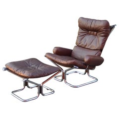 Harald Relling for Westnofa Wing Wingback Brown Leather Lounge Chair