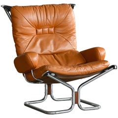 "Harald Relling ""Wing"" Chair in Chrome Cognac Leather for Westnofa"