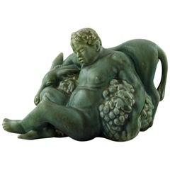 Harald Salomon for Rörstrand, Green Glazed Pottery Figure of Bacchus and Donkey