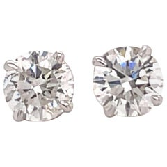 Harbor D. Diamond Stud Earrings 1.97 Carat G-H SI3-I1 14 Karat White Gold