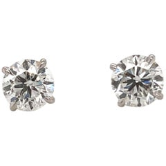 Harbor D. Diamond Stud Earrings 3.03 Carat J SI3-I1 18 Karat White Gold