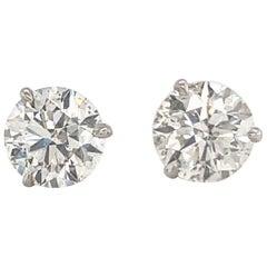 GIA Certified Diamond Stud Earrings 4.03 Carat H-I I1-I2 18 Karat