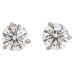 Harbor D. GIA Certified Diamond Stud Earrings 2.41 Carat H SI1-SI2 18 Karat