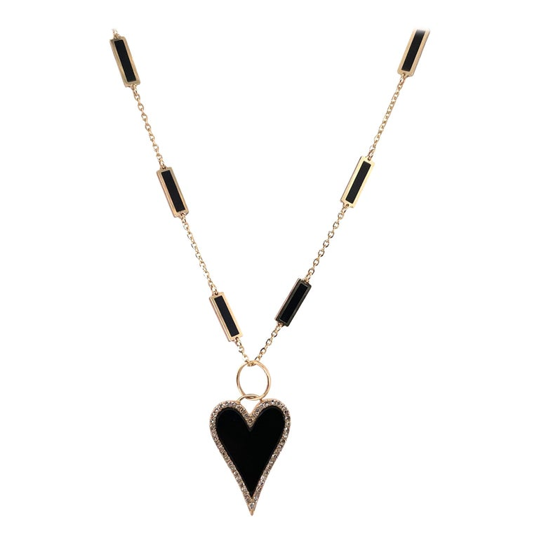 HARBOR D. Italian Onyx Yellow Gold Diamond Heart Pendant Necklace 0.38 Carat For Sale