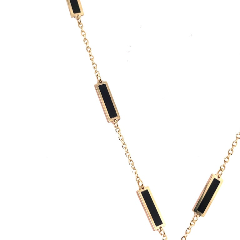 Contemporary HARBOR D. Italian Onyx Yellow Gold Diamond Heart Pendant Necklace 0.38 Carat For Sale