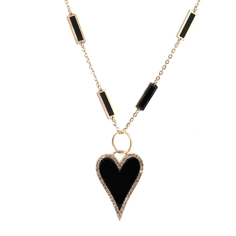 Round Cut HARBOR D. Italian Onyx Yellow Gold Diamond Heart Pendant Necklace 0.38 Carat For Sale