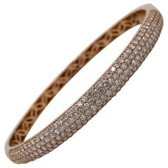 Harbor D. Three-Row Diamond Bangle Bracelet 2.32 Carat 18 Karat Rose Gold