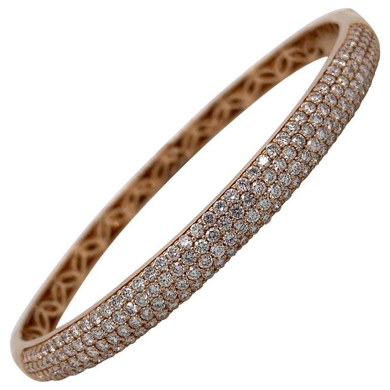 Harbor D. Three-Row Diamond Bangle Bracelet 2.32 Carat 18 Karat Rose Gold For Sale