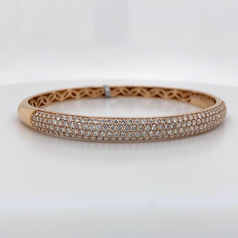 Contemporary Harbor D. Three-Row Diamond Bangle Bracelet 2.32 Carat 18 Karat Rose Gold For Sale