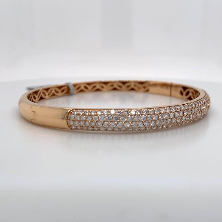 Harbor D. Three-Row Diamond Bangle Bracelet 2.32 Carat 18 Karat Rose Gold In New Condition For Sale In New York, NY