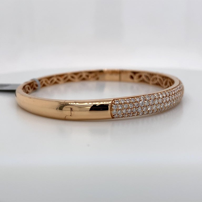 Women's Harbor D. Three-Row Diamond Bangle Bracelet 2.32 Carat 18 Karat Rose Gold For Sale