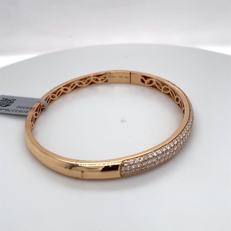 Harbor D. Three-Row Diamond Bangle Bracelet 2.32 Carat 18 Karat Rose Gold For Sale 1