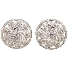 HARBOR D. Vintage Diamond Swirl Disc Earrings 7.25 Carat 18 Karat White Gold
