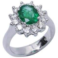 Harbor Diamond Emerald Ring with Diamonds Halo 14 Karat White Gold