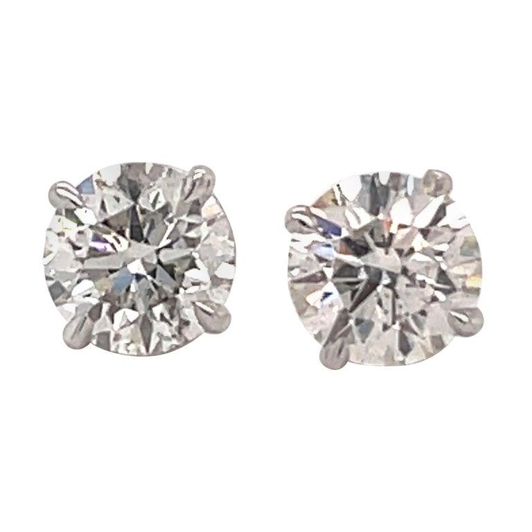 Harbor Diamonds Diamond Stud Earrings 2.04 Carat I SI3-I1 14 Karat White Gold For Sale