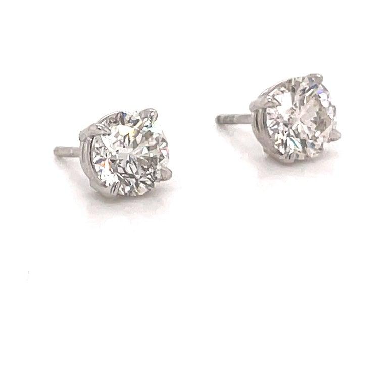 Contemporary Harbor Diamonds Diamond Stud Earrings 2.04 Carat I SI3-I1 14 Karat White Gold For Sale