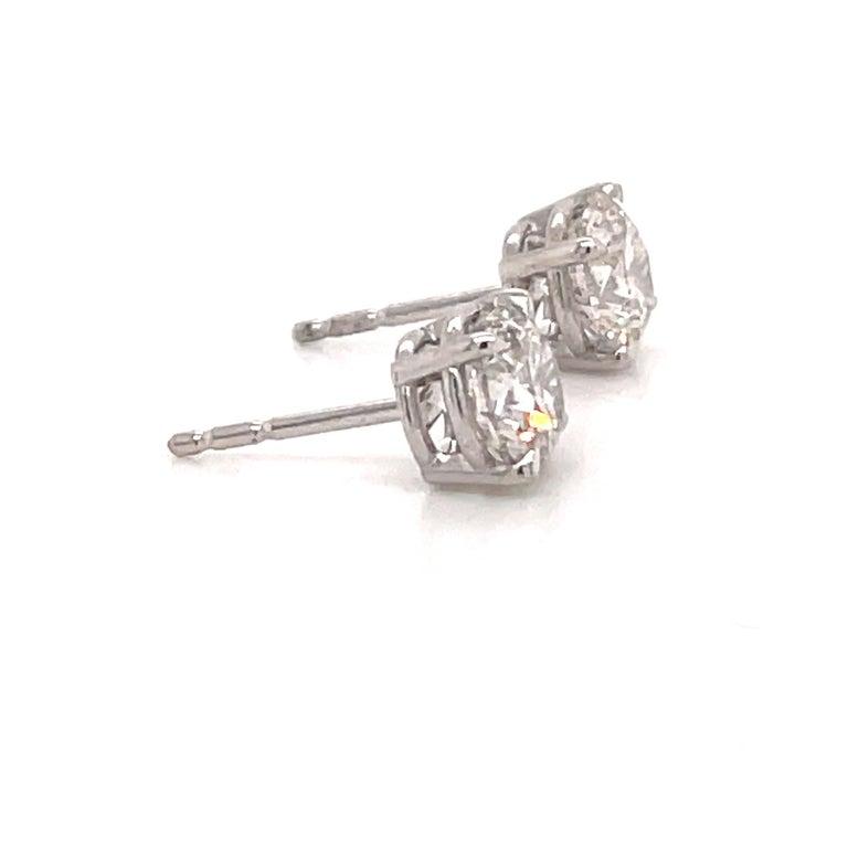 Round Cut Harbor Diamonds Diamond Stud Earrings 2.04 Carat I SI3-I1 14 Karat White Gold For Sale