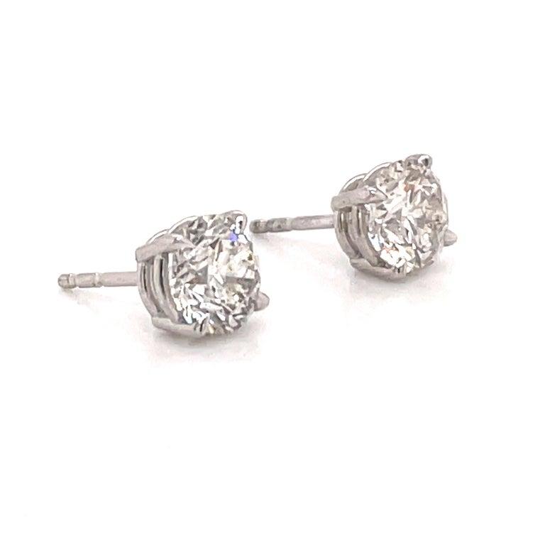 Harbor Diamonds Diamond Stud Earrings 2.04 Carat I SI3-I1 14 Karat White Gold In New Condition For Sale In New York, NY
