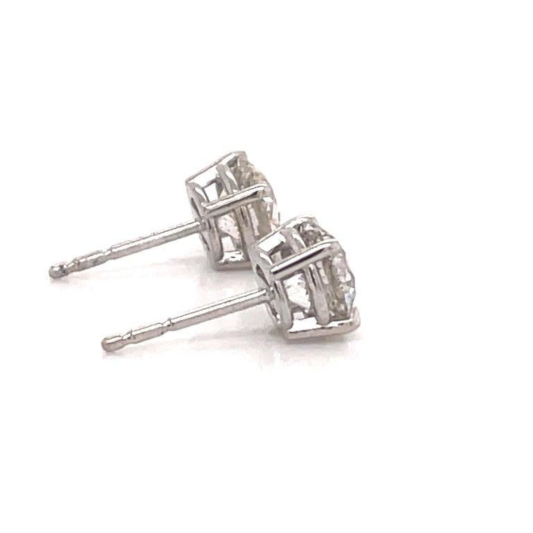 Women's or Men's Harbor Diamonds Diamond Stud Earrings 2.04 Carat I SI3-I1 14 Karat White Gold For Sale
