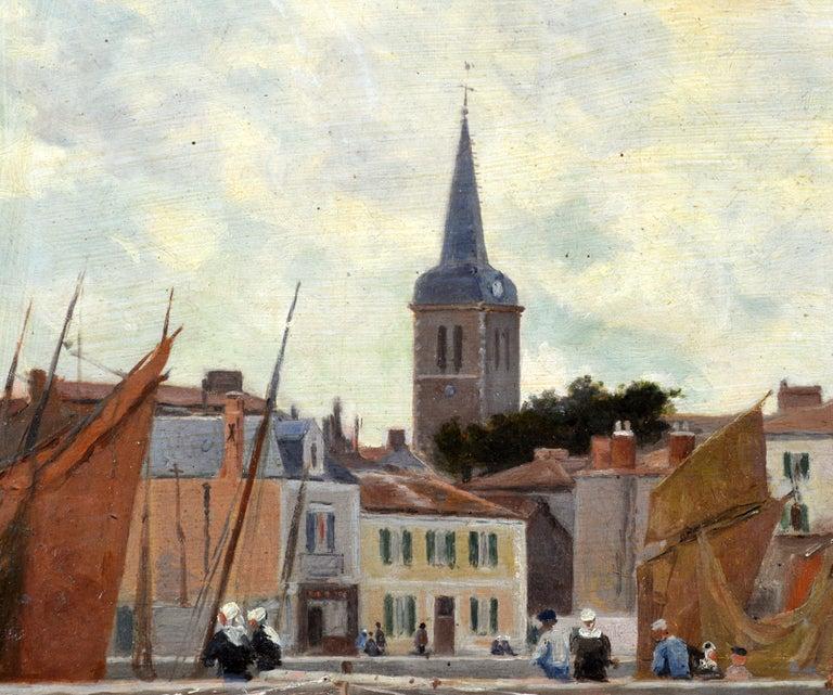 'Harbor Scene, Brittany' by Luigi Loir, Austrian/French Impressionist, 1845-1916 For Sale 4