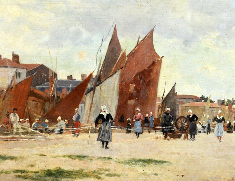 Painted 'Harbor Scene, Brittany' by Luigi Loir, Austrian/French Impressionist, 1845-1916 For Sale