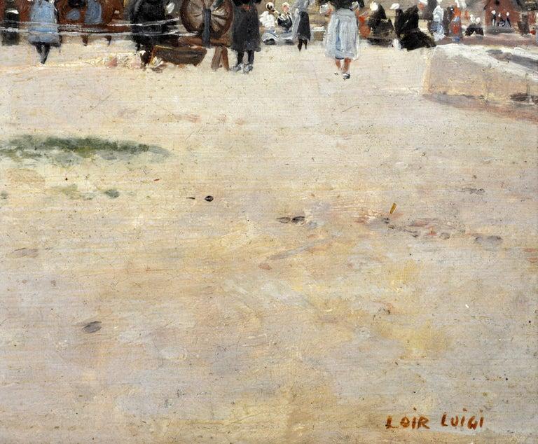 'Harbor Scene, Brittany' by Luigi Loir, Austrian/French Impressionist, 1845-1916 For Sale 1