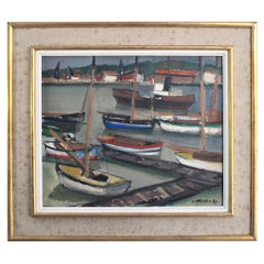 """""""Harbor Scene"""" Painted By J. Hugon Dated 1952"""