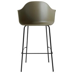 Harbour Chair, Bar Height Base in Black Steel, Olive Shell