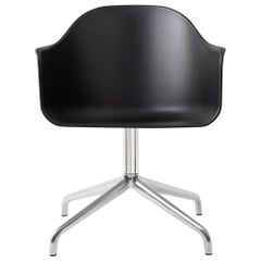 Harbour Chair, Polished Aluminum Swivel Base and Black Shell