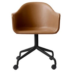 Harbour Chair, Cognac Leather Chair Black Steel Swivel Base and Casters