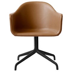 Harbour Chair, Cognac Leather Dining Chair with Black Steel Swivel Base